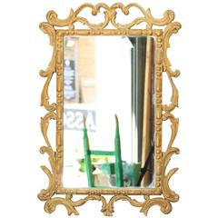 French Mirror with Carved Pine Frame