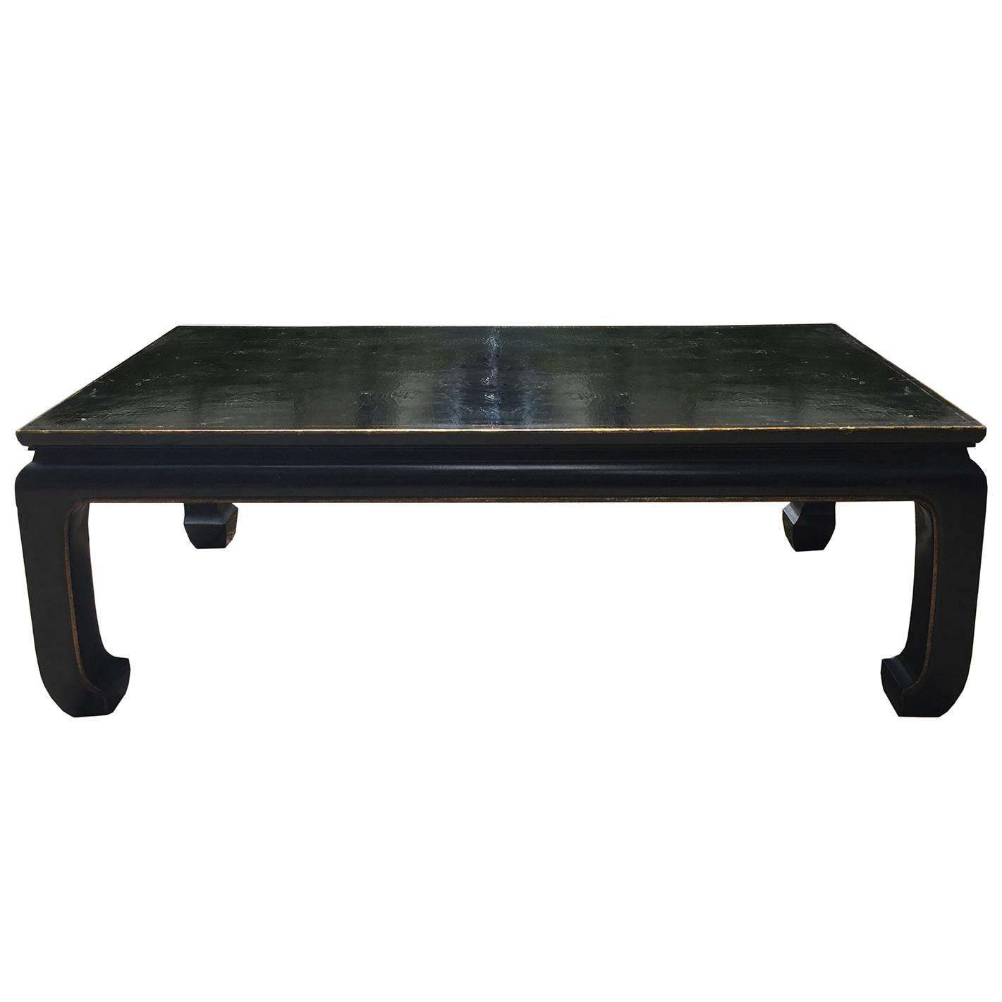 20th century superior quality black lacquered coffee table