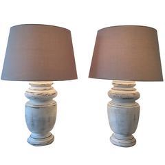 Pair of Turned Painted Mahogany Billiard Table Lamps
