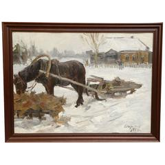 """Starostin, Aleksey Mihaylovich Painting, """"Winter. Horse is tired"""""""