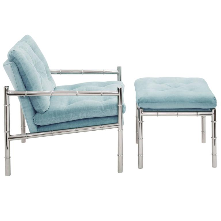 Chair and Ottoman in Chrome with Bamboo Motif 1