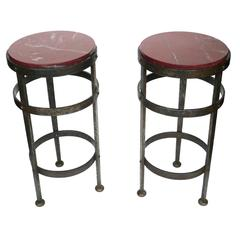 Mid-20th Century French Marble and Iron End Tables, Pair