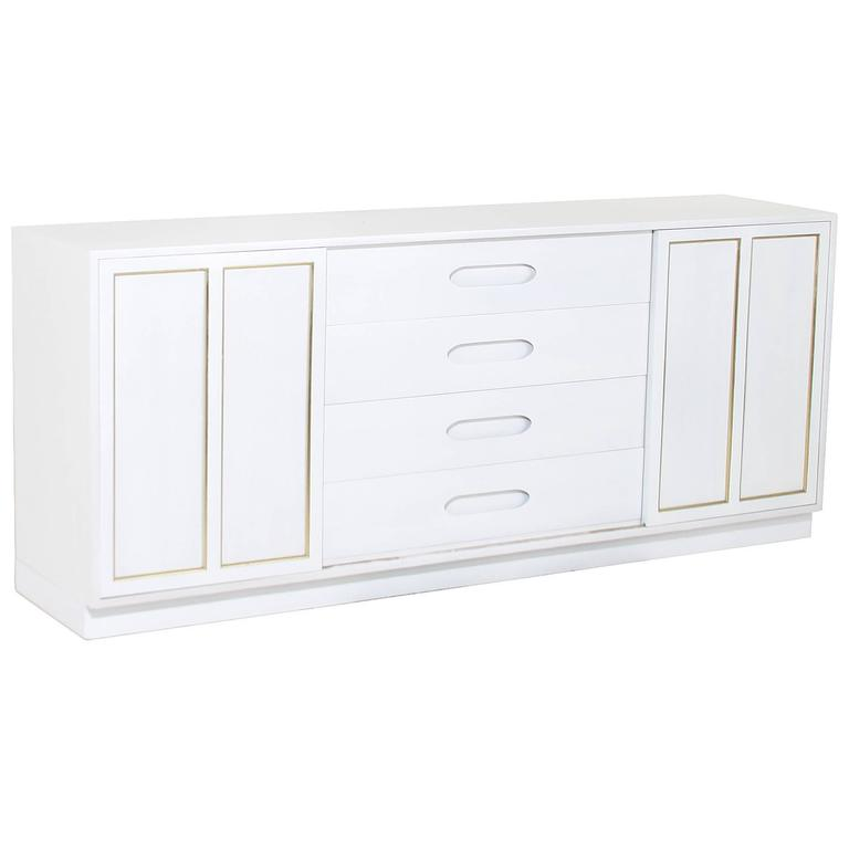Harvey Probber Bleached Wood Credenza Dresser with Brass Cabinet Details
