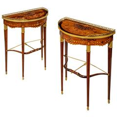 Companion Pair of Demilune Bow and Arrow Tables by Alix