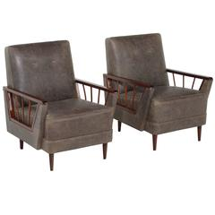 Vintage Rosewood and Leather Armchairs