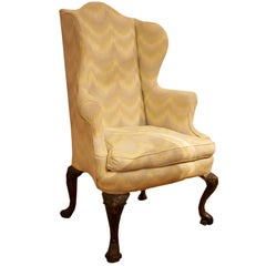 18th Century Georgian Upholstered Wing-Back Chair