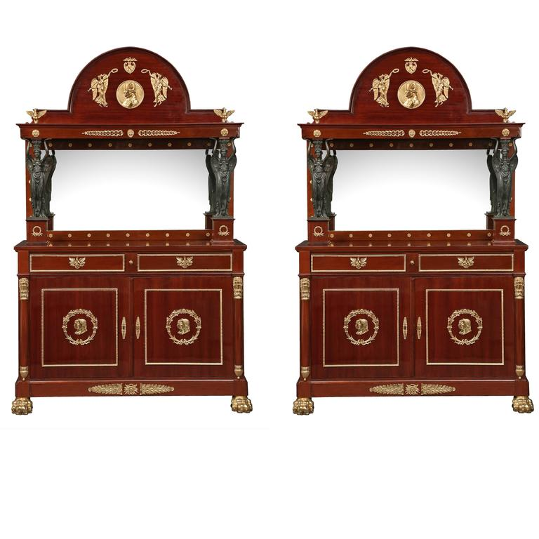 Pair of French 19th Century Second Empire Period Mahogany Buffets