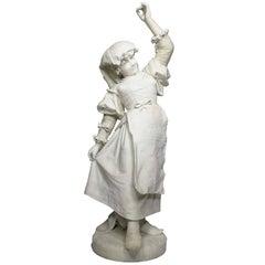 """Italian 19th-20th Century Carved Marble Sculpture """"Ciociara"""" by Ferdinando Vichi"""