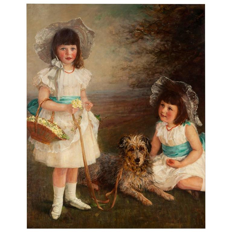 """Large 19th Century Oil on Canvas Titled """"Spring"""" by Helen Everett Peabody Grant"""