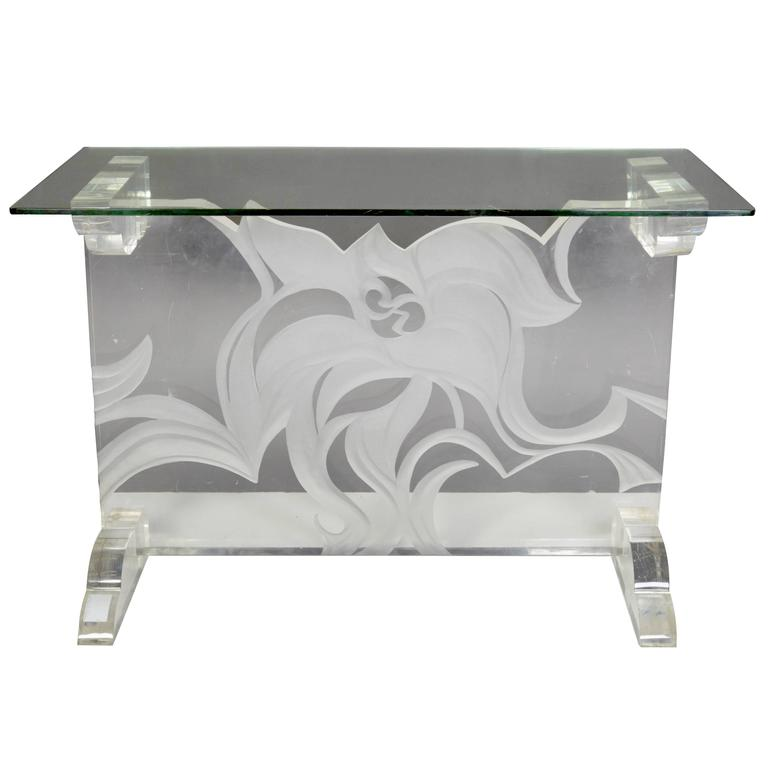 Italian Lucite and Glass Top Console 1