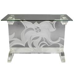 Italian Lucite and Glass Top Console