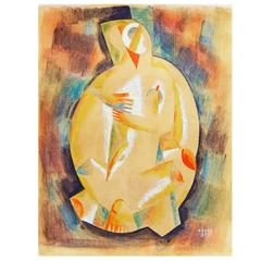 """Cubist Figure,"" Brilliant Painting by Béla Kádár, Hungarian Master"