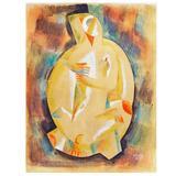 """Cubist Figure,"" Brilliant Painting by Béla Kádár, Hungarian Master"