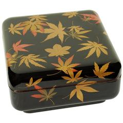 Japanese Lacquer Box with Maple Leaf Design, circa 20th Century