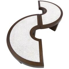 Rare Mosaic S-Top or Round Harvey Probber Two-Piece Nucleus Cocktail Table