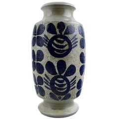 Göran Andersson, Upsala-Ekeby Ceramic Vase, Dark Blue Decoration on Gray Base