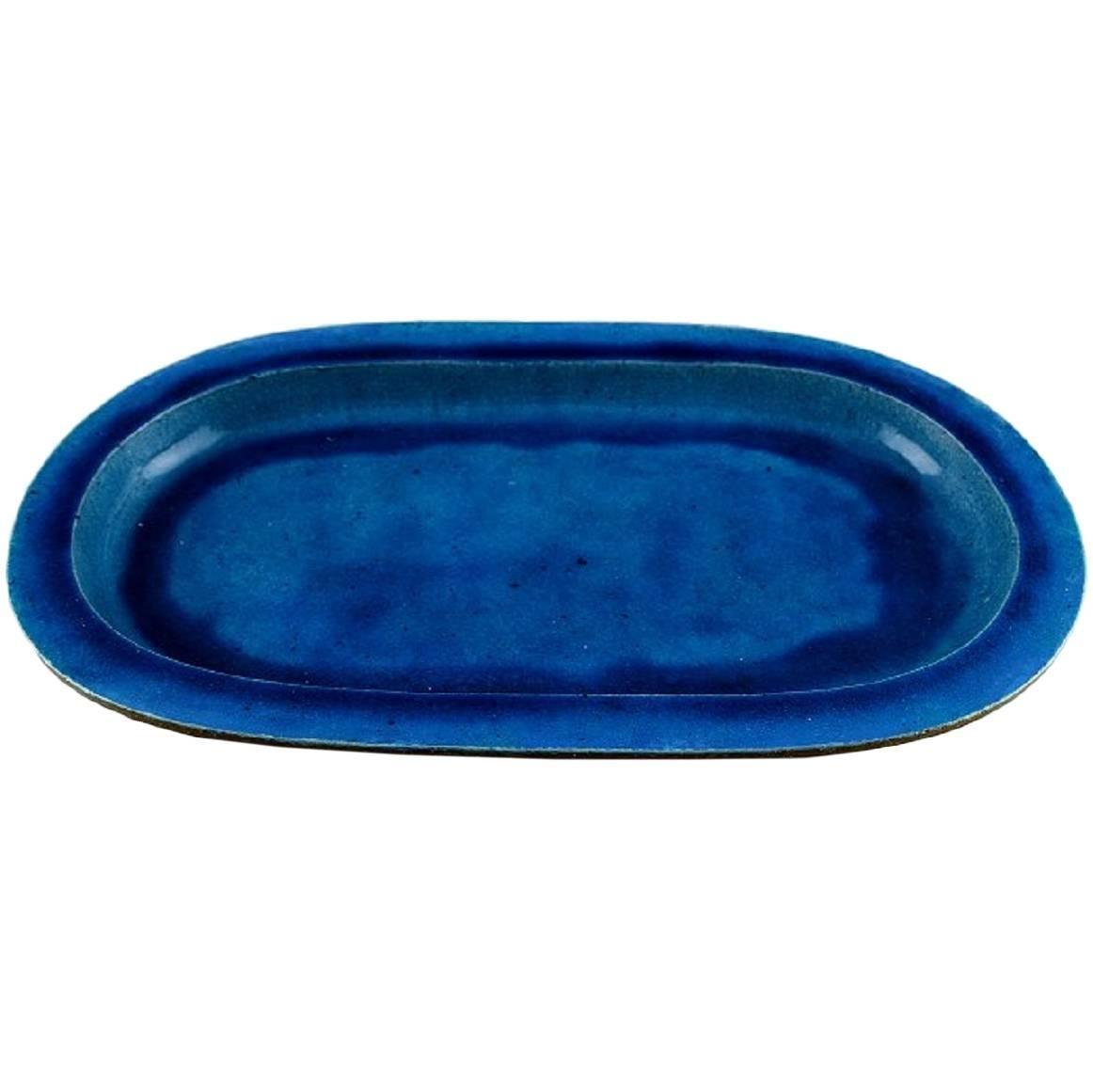 Kähler, Denmark, Huge Glazed Stoneware Platter/Tray, 1960s