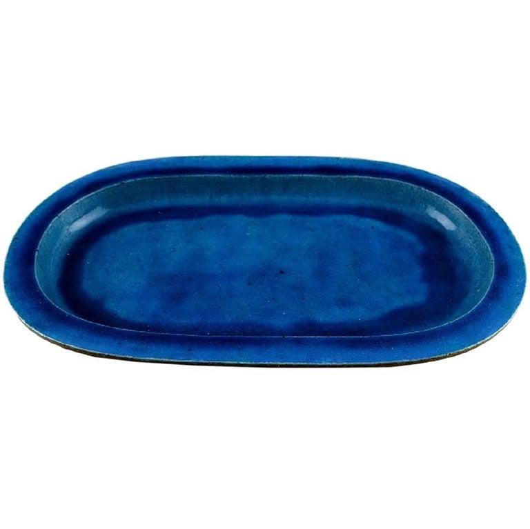 Kähler, Denmark, Huge Glazed Stoneware Platter/Tray, 1960s For Sale