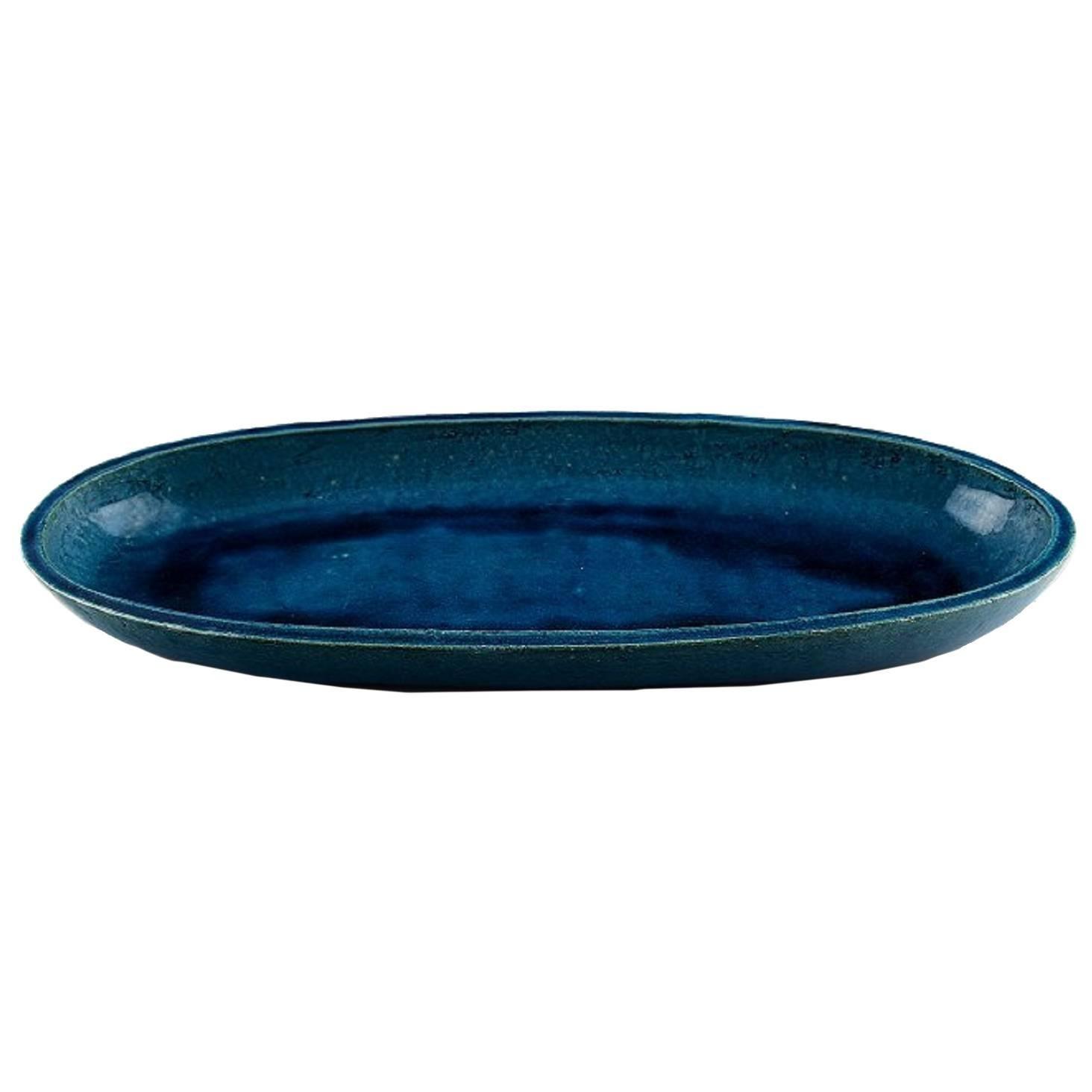 Kähler, Denmark, Huge Glazed Stoneware Platter / Tray, 1960s
