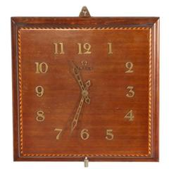 Rear Mahogany Marquetry Wall Clock Signed Omega, 1950