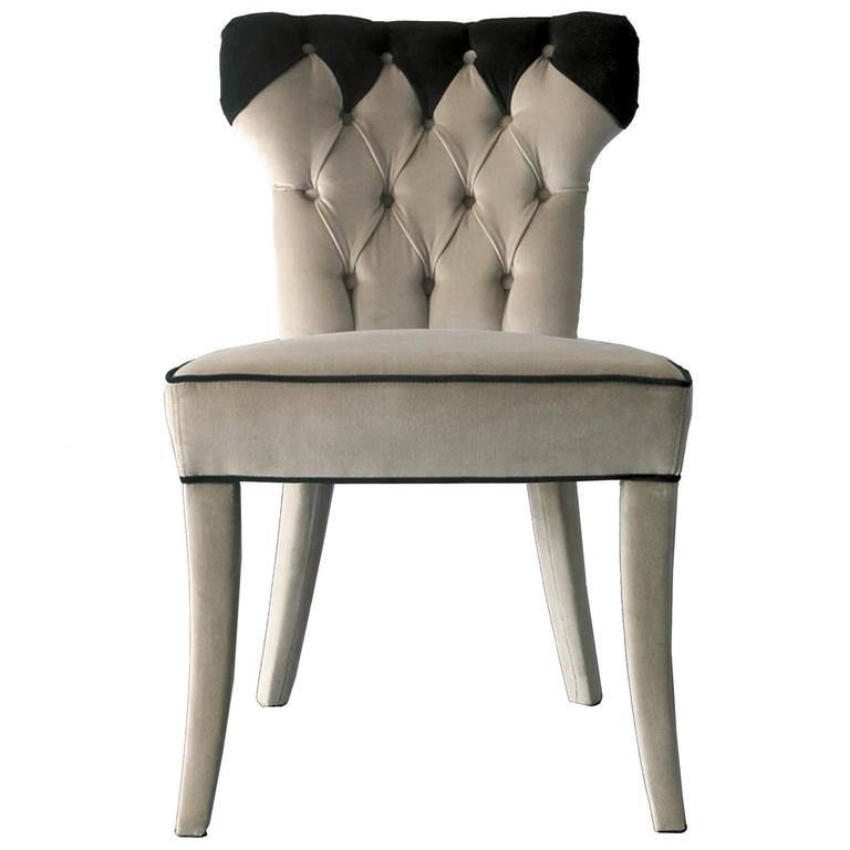 Catalina Chair in Fabric and Wood Structure For Sale