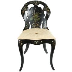 A Papier-Mache Chair in Black Lacquer with Mother of Pearl Inlay, circa 1850