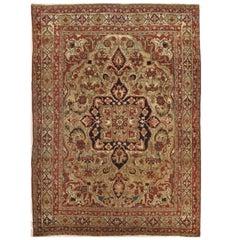 Late 19th Century Antique Persian Lavar Kerman Rug