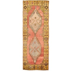 Wide and Long Semi Antique Turkish Anatolian Runner Rug