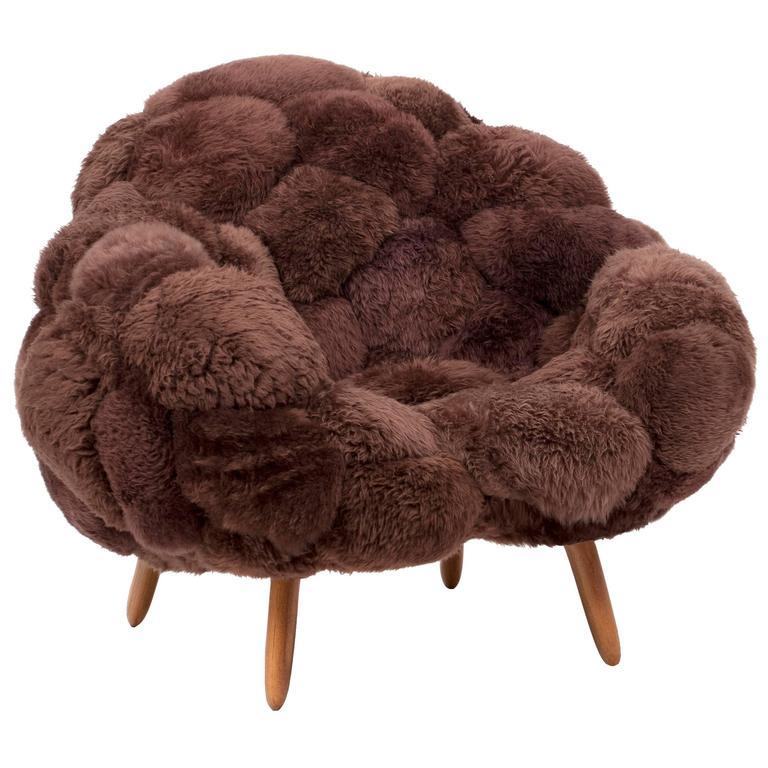 Fernando & Humberto Campana, Bolotas Armchair Café, Sheep's Wool, Ipê Wood 2015 For Sale