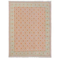 Large Vintage Cotton Dhurrie Designer Rug  11'6 x 14'6