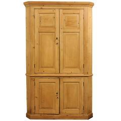 All Original 19th Century English Pine Corner Cupboard