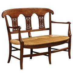 Petite Antique French Bench in Beech, circa 1900