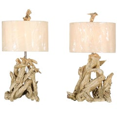 Beautiful Restored Pair of Large-Scale Driftwood Lamps in Gesso, circa 1950