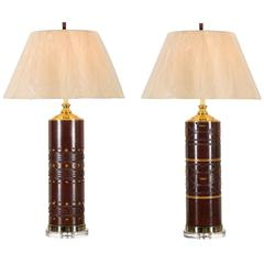 Handsome Restored Pair of Vintage Wallpaper Rollers as Lamps