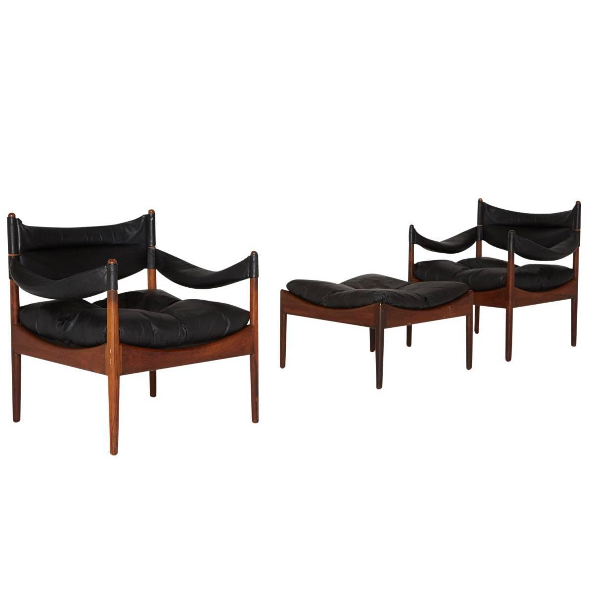Modus Leather Lounge Chairs And Ottoman By Kristian Solmer Vedel At 1stdibs