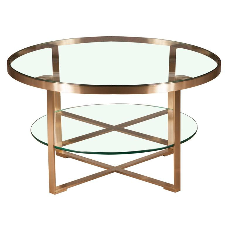 Elegant Brass And Glass Coffee Table: French Round Coffee Cocktail Table With Brushed Brass And