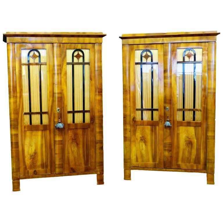 Pair Biedermeier Bookcases 19th Century German Walnut Display Cabinets For Sale