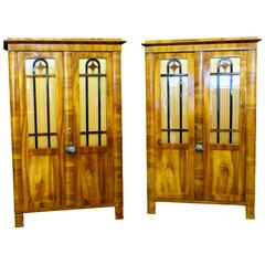 Pair Biedermeier Bookcases 19th Century German Display Cabinets -RETIREMENT SALE