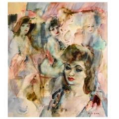 Art Deco Watercolor Painting Bar Scene with Ladies by Raf de Buck