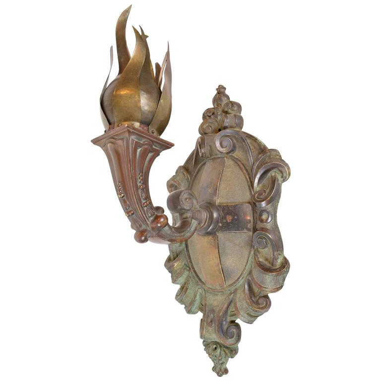 Large Bronze Wall Sconces : Large Early 20th Century Cast Bronze Wall Sconce at 1stdibs