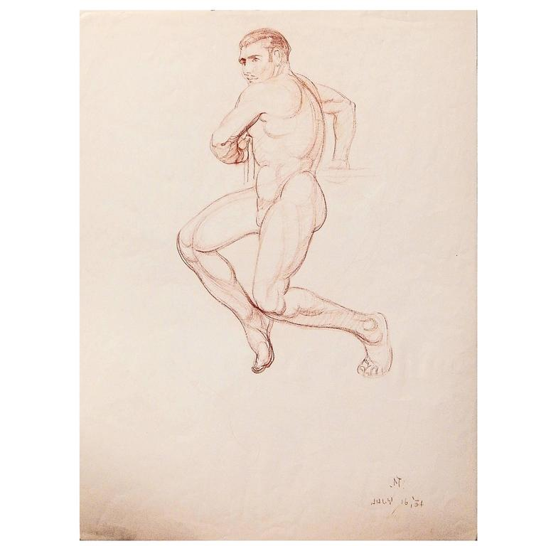 """Twisting Male Nude,"" Art Deco Drawing by Pioneering Native American, 1934"