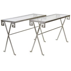 Pair of Jean Michele Frank Style Silvered Glass Top Console Tables