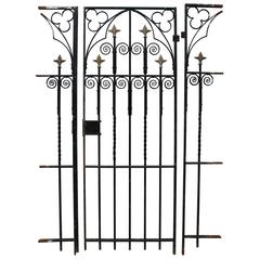 Antique Wrought Iron Gate with Side Railings / Posts