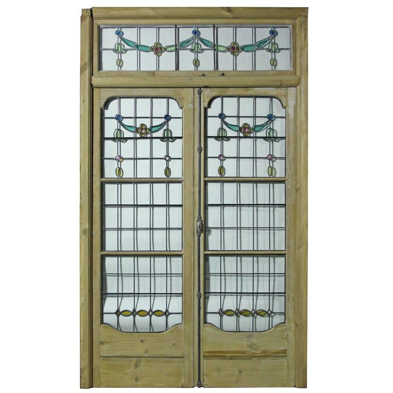 Pair of antique leaded glass french double doors with for Double glazed french doors for sale