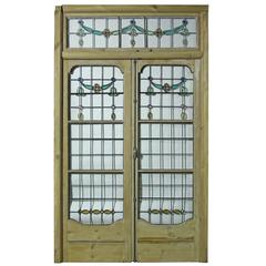 Pair of Antique Leaded Glass French Double Doors with Frame