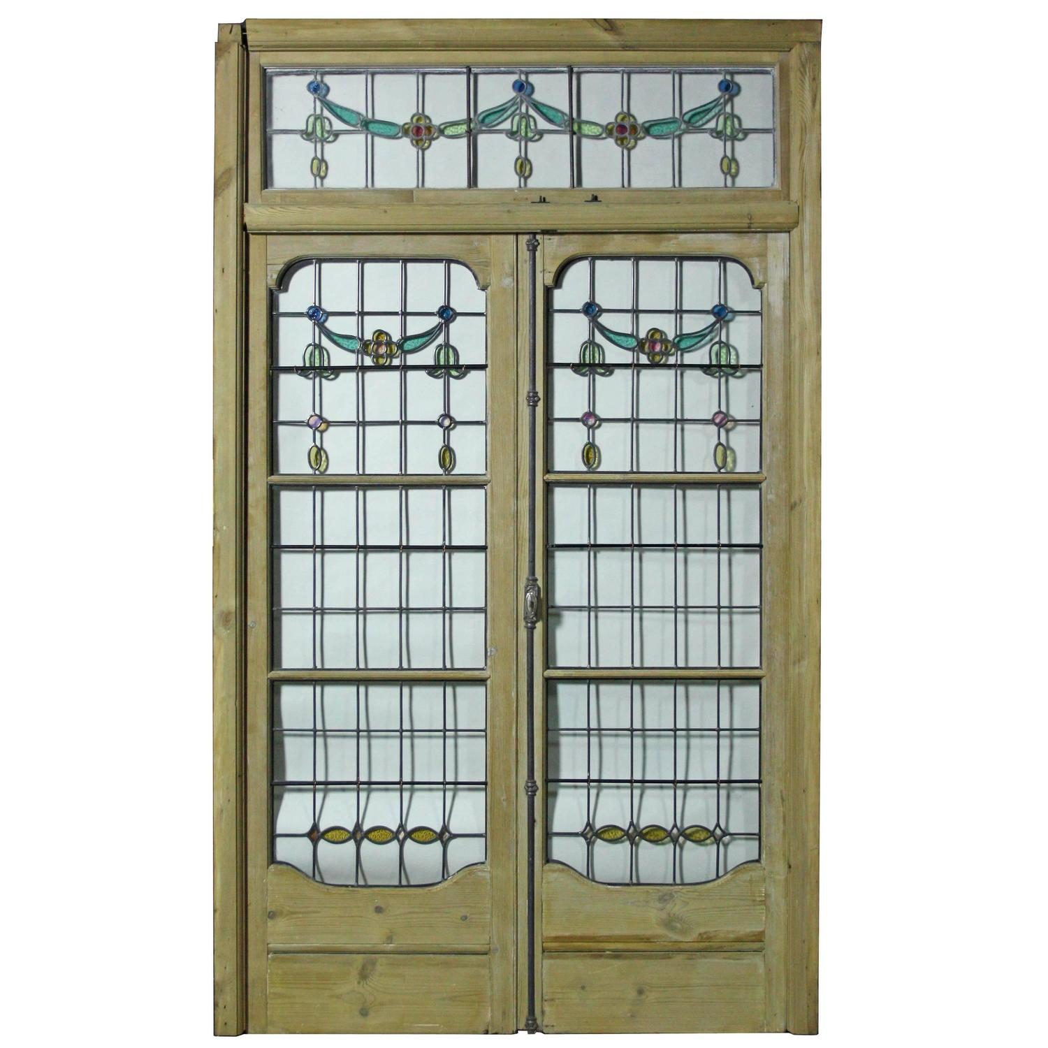 Pair of antique leaded glass french double doors with for Double french doors for sale