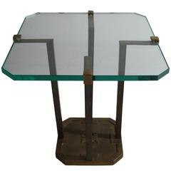 Glass and Brass Occasional Table by Peter Ghyczy, Germany, 1970s