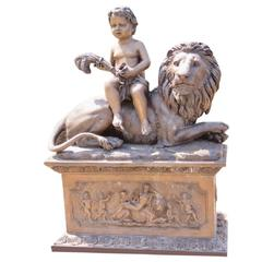 Bronze Statue of Boy with Lion