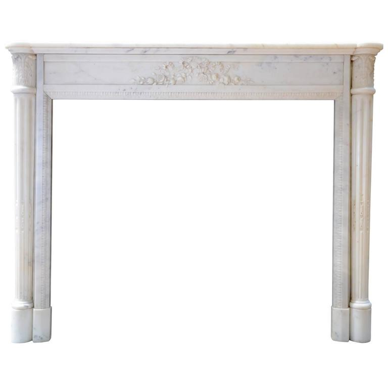 Louis XVI Style White Carrara Marble Fireplace, 19th Century