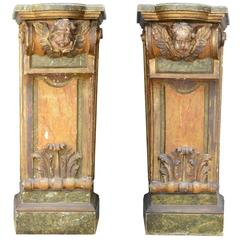 Pair of Carved Wood and Painted Consoles, Italian Work, Early of 20th Century